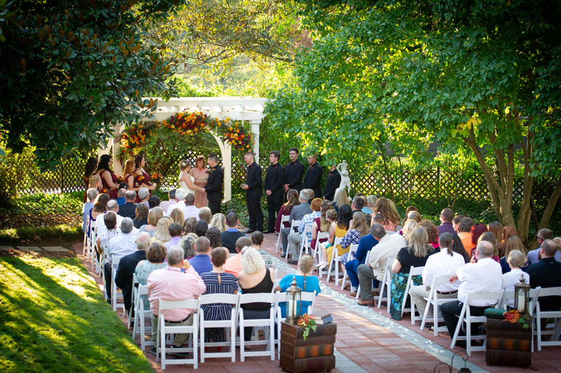 Garden setting wedding ceremony