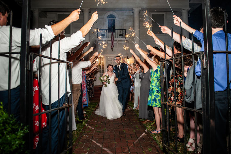 Newlyweds and sparklers