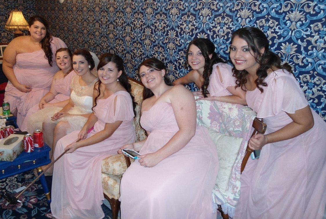 amanda and bridesmaids in family room