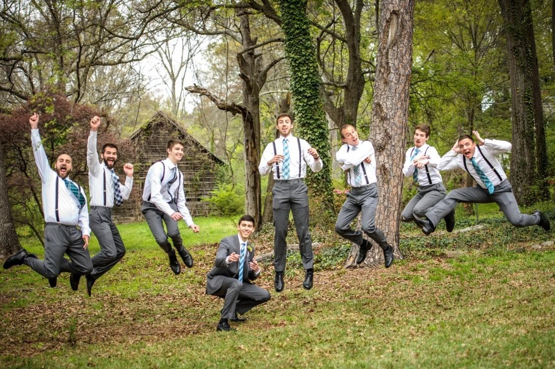 groomsmen jumping lower garden april 12