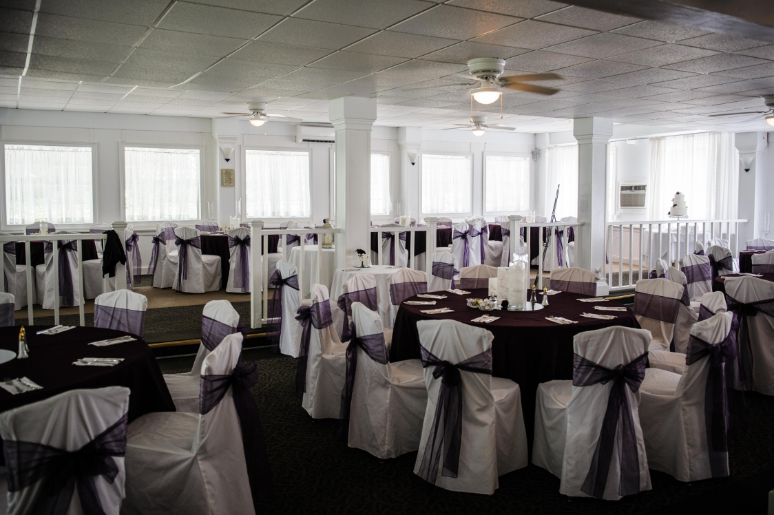 june hall with purple and white with lace trios