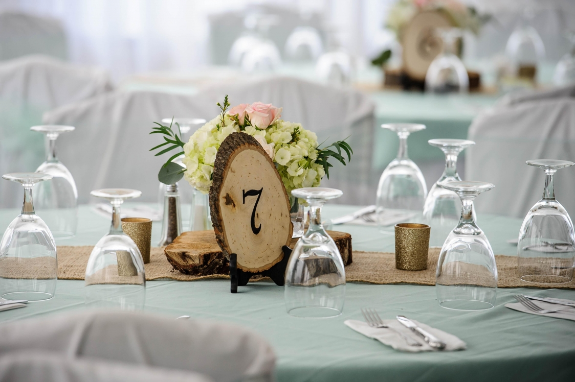 may hall tables with mint wood burlap
