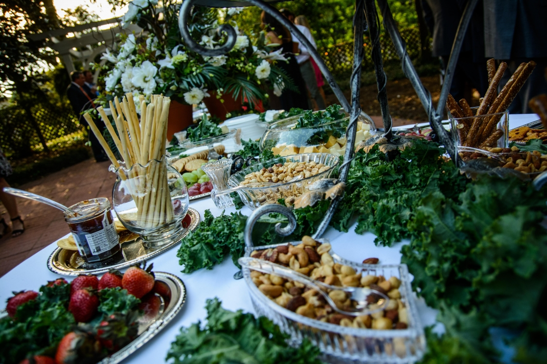 sept bride appetizers in garden