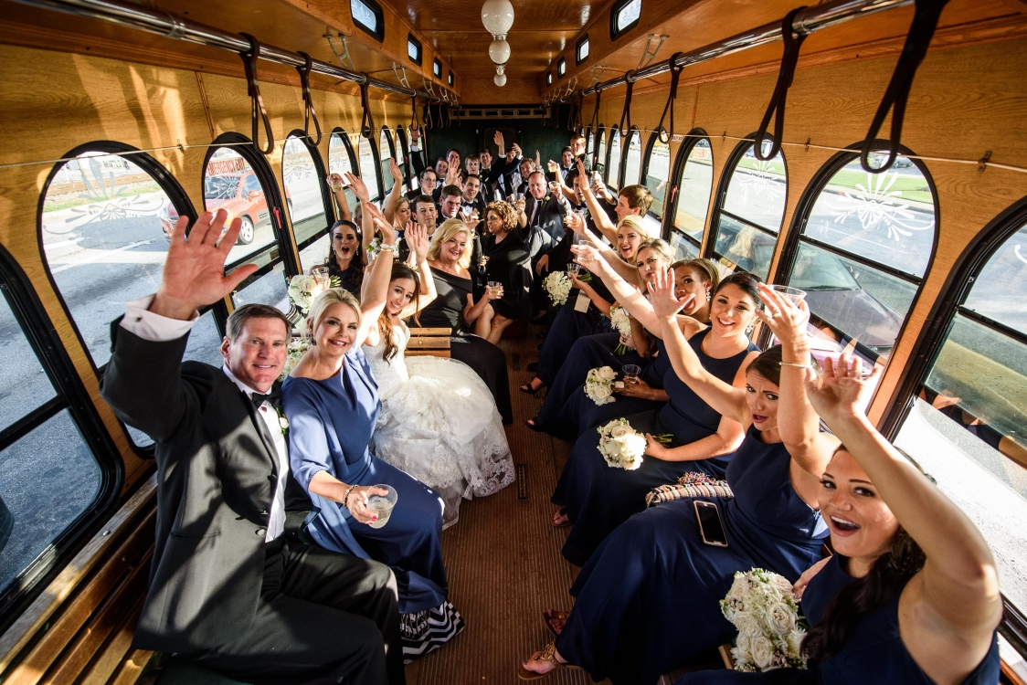 sept bride on trolley to Manor